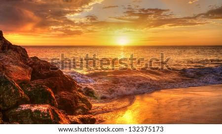 Western Australian Coastline at sunset - stock photo