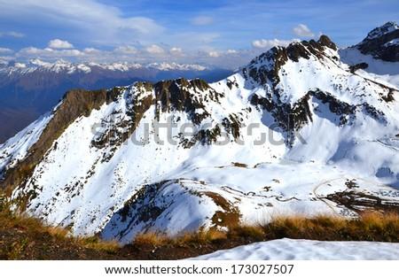 Western Caucasus. Early autumn in the mountains of Krasnaya Polyana, Sochi. Ridge Aibga. - stock photo