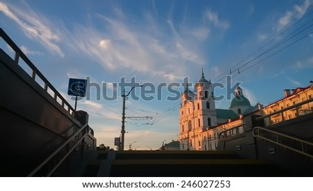 Western Europe Architecture in Grodno, Belarus - stock photo