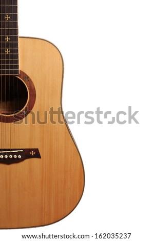 Western  guitar. White background - stock photo