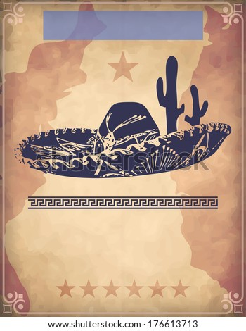 Western poster or background with mexican hat - stock photo