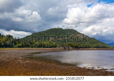 Western shore of Loch Fyne next to town of Inveraray, Scotland. Lake has a reputation for its oyster fishery. - stock photo