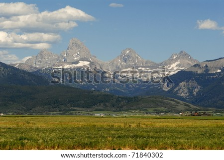 Western side of Grand Tetons range seen, from Idaho - stock photo