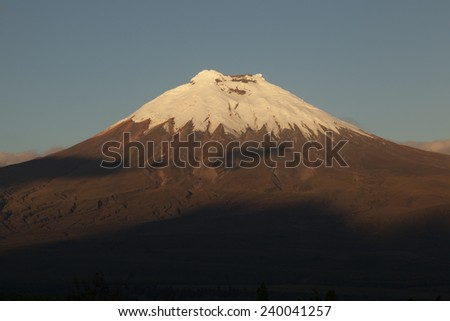 Western side of the volcano Cotopaxi at sunset - stock photo
