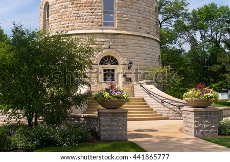 western springs historic water tower on national register of historic places in suburb of chicago illinois cook county - stock photo