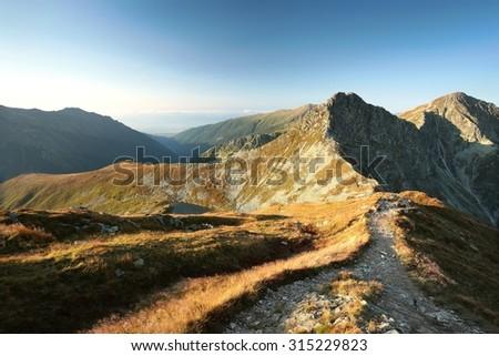 Western Tatras on the Polish-Slovak border in early September. - stock photo