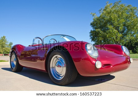 WESTLAKE, TEXAS - OCTOBER 19: A 1956 Porsche 550 Spyder is on display at the 3rd Annual Westlake Classic Car Show on October 19, 2013 in Westlake, Texas. - stock photo