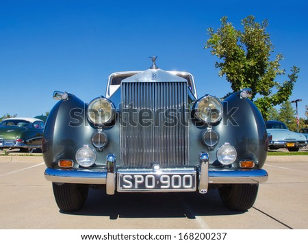 WESTLAKE, TEXAS - OCTOBER 19, 2013: A 1955 Rolls Royce Silver Dawn 4Dr Sedan on display at the 3rd Annual Westlake Classic Car Show. Front view. - stock photo
