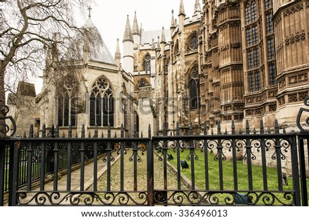 Westminster Abbey, formally titled the Collegiate Church of St Peter at Westminster, is a large, mainly Gothic church in the City of Westminster, London. Cultural heritage. - stock photo