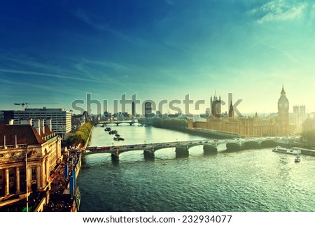 Westminster aerial view, London, UK - stock photo