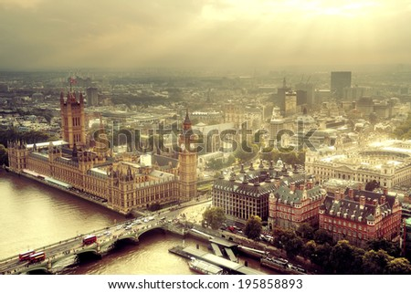 Westminster aerial view with Thames River and London urban cityscape. - stock photo