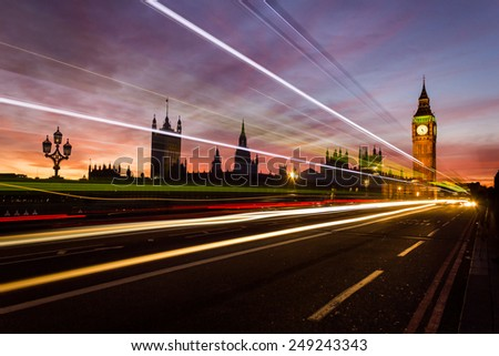 Westminster, Big Ben and Light Trails from Westminster Bridge - stock photo