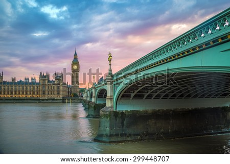 Westminster Bridge, Big Ben and Houses of Parliament at sunset, London, UK - stock photo