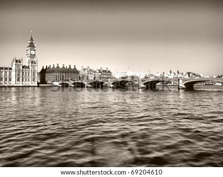 Westminster bridge panorama view in London, UK - high dynamic range HDR - black and white - stock photo