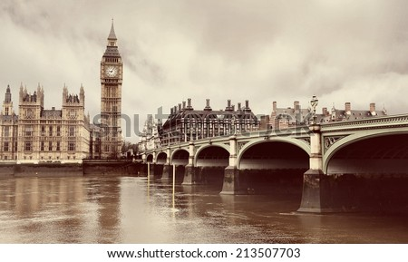 Westminster Bridge with Big Ben in London with instagram style filter - stock photo