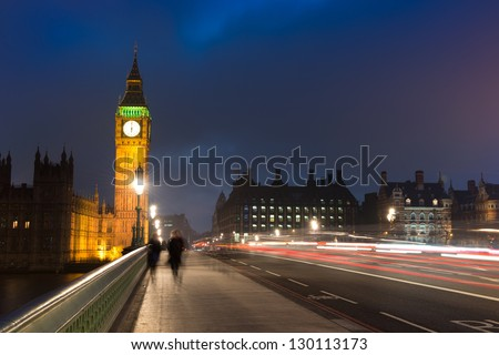 Westminster Bridge with Big Ben , London - stock photo