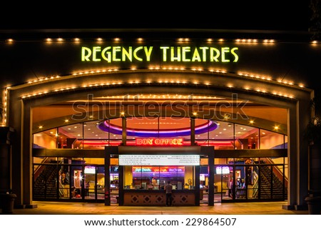 WESTMINSTER, CA/USA - NOVEMBER 10, 2014: Regency Theaters exterior. Regal Entertainment Group is a movie theater chain headquartered in Knoxville, Tennessee. - stock photo