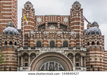 Westminster Cathedral (1895 - 1903) in London - mother church of Catholic community in England and Wales and the Metropolitan Church and Cathedral of the Archbishop of Westminster. - stock photo