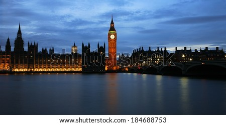 Westminster Palace at night seen from South Bank   - stock photo