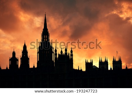Westminster Palace silhouette with cloud in London. - stock photo