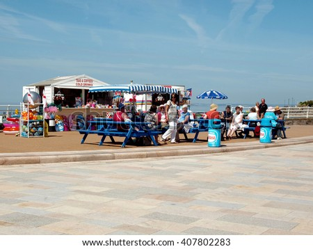 WESTON-SUPER-MARE, SOMERSET, UK. JUNE 21, 2010. A food and drinks kiosk on the promenade at Weston-super-mare in Somerset, UK. - stock photo