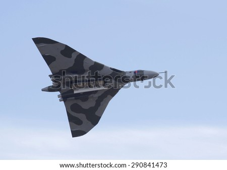 WESTON SUPER MARE, UK - JUNE 21: Avro Vulcan bomber aircraft XH558  participates in the combined Air Show/Armed Forces event June 21, 2015 at Weston Super Mare, Somerset, England - stock photo