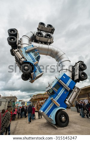 WESTON-SUPER-MARE, UK - SEPTEMBER 3 2015: Big Rig Gig sculpture by Mike Ross at Banksy's Dismaland Bemusement Park. A five week show in the seaside town of Weston-Super-Mare. - stock photo