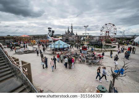 WESTON-SUPER-MARE, UK - SEPTEMBER 3 2015: View of  the whole site at Banksy's Dismaland Bemusement Park. A five week show in the seaside town of Weston-Super-Mare. - stock photo