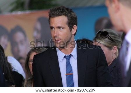 WESTWOOD CA -AUGUST 1: Ryan Reynolds arriving for the premiere of the movie The Change-Up at the Regency's Village Theatre August 1, 2011 in Westwood, CA. - stock photo