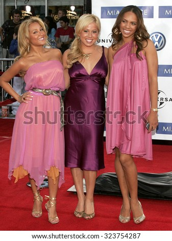 WESTWOOD, CALIFORNIA. July 20, 2006. Adrienne Bailon, Kiely Williams and Sabrina Bryan of The Cheetah Girls at the World premiere of 'Miami Vice' held at the Mann's Village Theater in Westwood, USA. - stock photo