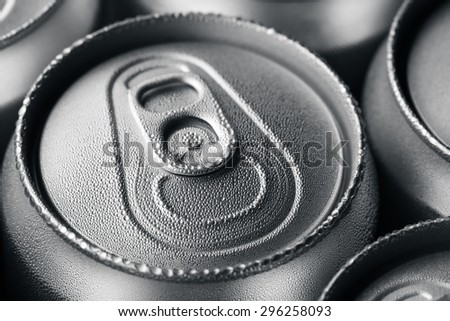 Wet aluminium can with drink - stock photo