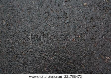 wet asphalt in the path - stock photo