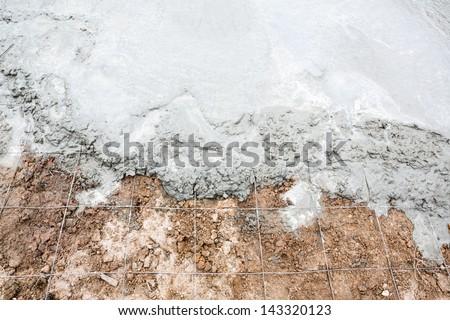 Wet cement concrete for new floor - stock photo