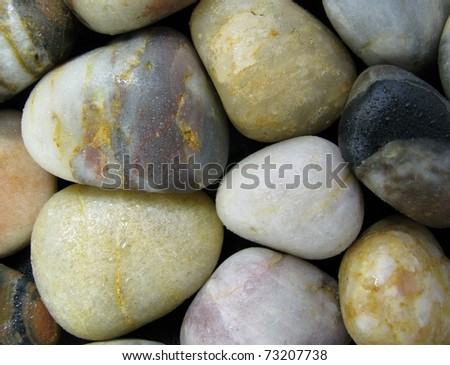 Wet colored pebble closeup - stock photo