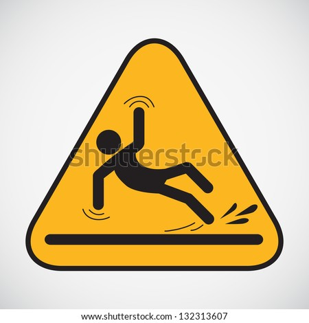 Wet floor caution sign. Vector version also available in my portfolio. - stock photo