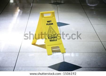 Wet Floor Sign - stock photo