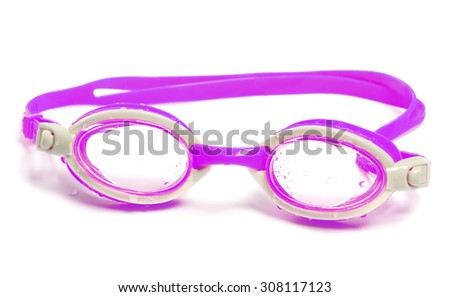 Wet goggles for swimming. Isolated on white background. - stock photo