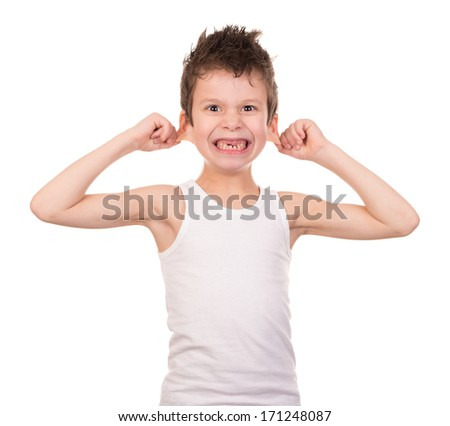 wet hair boy with emotion on white - stock photo