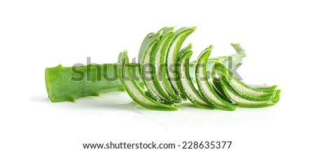 Wet juicy slices of aloe vera isolated - stock photo