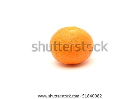Wet mandarin isolated on white - stock photo