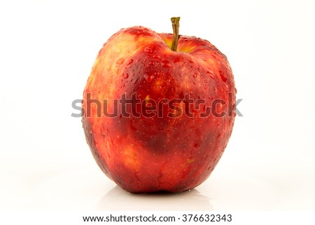wet red apple isolated on white / Red ripe apple / Fresh red apple isolated on white. With clipping path - stock photo
