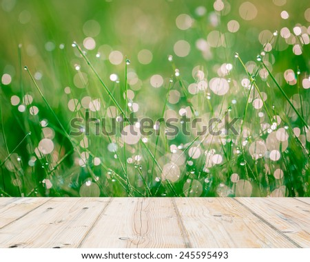 wet springtime grass with bokeh effect and wooden floor - stock photo
