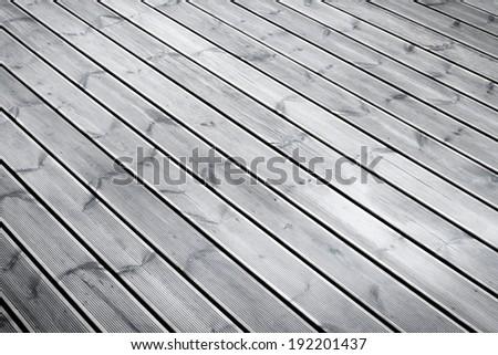 wet terrace brown wood floor background - stock photo