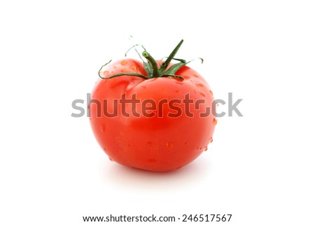 Wet tomato isolated on a white background. - stock photo