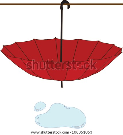 wet umbrella - stock photo