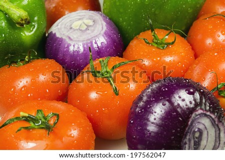 wet vegetables closeup on the full background horizontal - stock photo