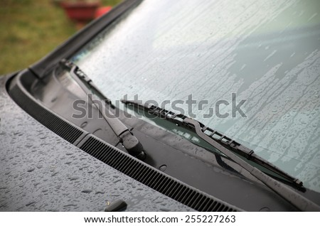 Wet windshield wiper - stock photo