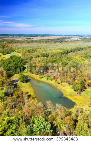 Wetlands and forest seen from Inspiration Point of the Shawnee National Forest in southern Illinois - stock photo