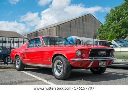 WEYBRIDGE, SURRY, UK - AUGUST 18:  on show at the annual Brooklands Motor Museums Mustang and Anything American Day in August 2013. - stock photo