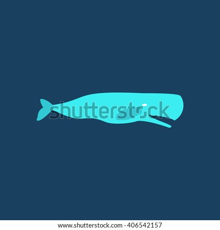 whale Flat icon on color background. Simple colorful pictogram - stock photo